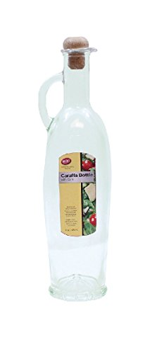 (TableCraft 16 oz Caraffa Glass Bottle w/ Cork, Green Tint Glass )