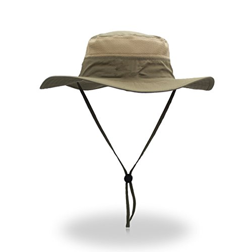- Duakrs Unisex Wide Brim Sun Hat,Outdoor UPF 50+ Waterproof Boonie Hat Summer UV Protection Sun Caps (Khaki)