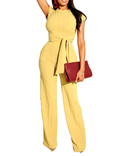 Ophestin Womens Sexy Two Piece Outfits Short Sleeve Rib Belted Crop Top Wide Leg Pants Set Party Jumpsuits Yellow XL