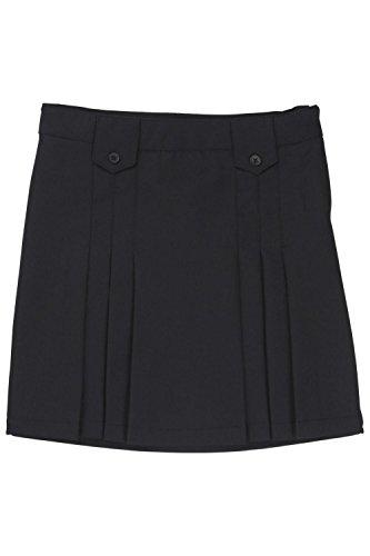 French Toast Front Pleated Skirt With Tabs Girls Black 14