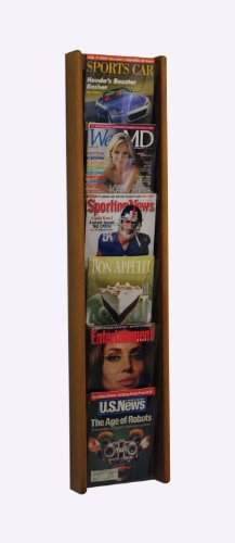 (Wooden Mallet Stance 6 Pocket Magazine Holders Wall Display Rack 6H Medium Oak Electronics, Accessories, Computer)