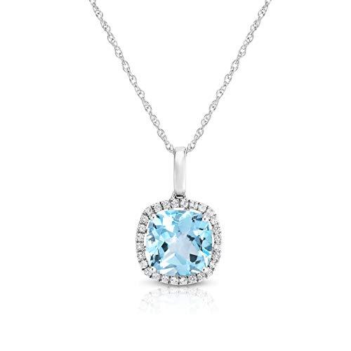 NATALIA DRAKE 3.82Cttw Sky Blue Topaz & White Topaz Diamond Fashion Pendant