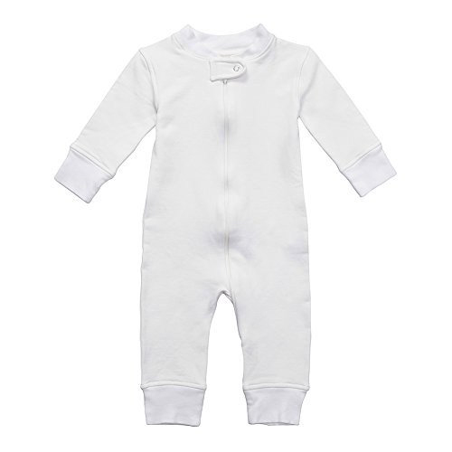 on Baby Boy Girl Fleece Zip Up Sleep N Play, Footless, Long Sleeve (Size 0-18 Month) (6-12 Months, Off-White) ()