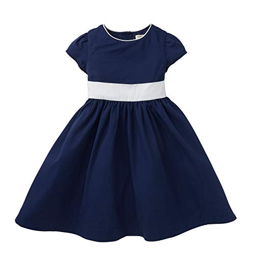 Hope & Henry Girls' Navy Classic Tie in The Back Dress with White -