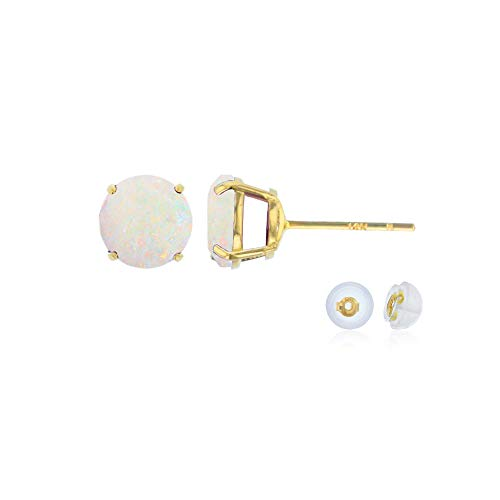 Genuine 10K Solid Yellow Gold 6mm Round Natural Opal October Birthstone Stud Earrings ()