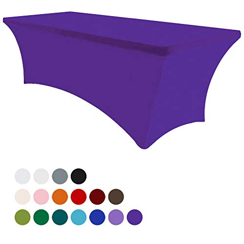 Purple Tablecloths - Eurmax 6Ft Rectangular Fitted Spandex Tablecloths