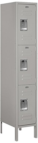 Salsbury Industries 63155GY-U Triple Tier 12-Inch Wide 5-Feet High 15-Inch Deep Unassembled Standard Metal Locker, Gray (15 Inch Wide Lockers)