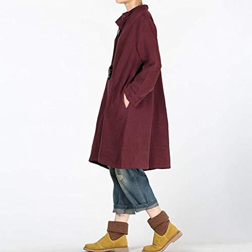 T Chemisier Bouton Casual Mode Shirt Lin Grande Tops Rouge Chic Taille Unie Longue Blouse Vin Sexy Couleur Femme Manche tqYZw7