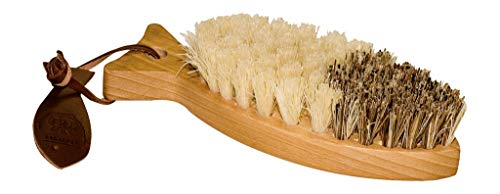 Redecker Tampico and Union Fiber Vegetable Brush with Oiled Beechwood Handle, Dual-sided Brush Head with Hard and Soft Bristles, 6 inches, Made in Germany