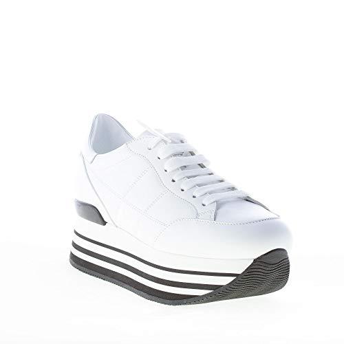 con Bianco in Hogan impunturata Donna H Maxi Sneaker Pelle Bianco H222 0wxF1Aaq