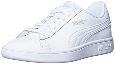 PUMA Women's Puma Smash V2 L Wht-wht Shoes, Puma White-puma White, 5 US