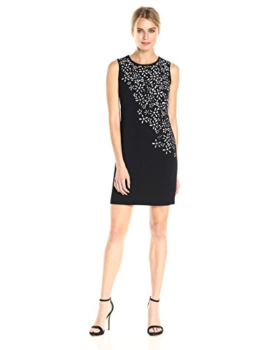 Calvin Klein Women's Sleeveless Laser Cut Flower Detail Sheath Dress, Black/White, -