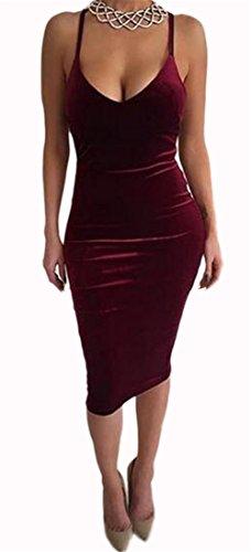 Women's Girls Sey Fashion Pleuche Strapless Sleeveless Backless Crossover Bodycon Bandage Party Club Midi Dress Wine Red XL ()