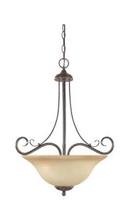 Satin Platinum Three Light Bowl Pendant from The Stratton Collection