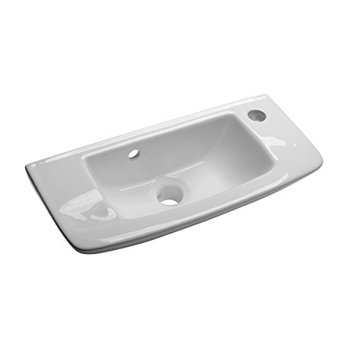 wall mount vessel sink white grade a vitreous china scratch and stain resistant offset with overflow no mounting bracket required - Small Bathroom Sinks