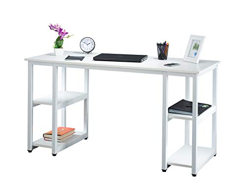 Fineboard FB-D15-WW Home Office Computer Desk Work Table with 4 Shelves, White