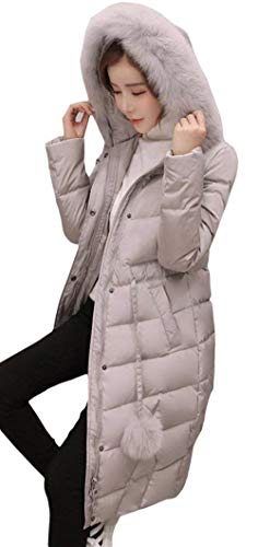 Outerwear De Mode Femme Fourrure Uni Parka Manche Transition Grau Avec Warm Hiver Qualité Élégant Manteau Doudoune Manches Rugueux Haute Casual Longues Dame Confortable 1xTq6Twf