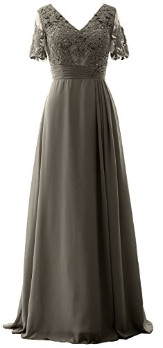 Gown Evening Lace Mother Dress Short Formal the of MACloth Pewter Long Bride Sleeves q6wtZZ