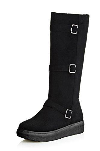 DYF tubo s plana largas de alta de color de botas hebilla correa Zapatos UHwXxrUq6