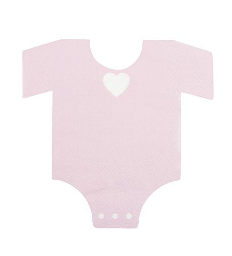 Blue Panda 50-Pack Die-Cut Light Pink Paper Baby Girl Shower Napkins, One Piece Outfit Design ()