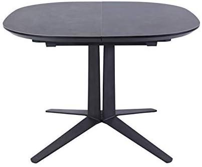 meubletmoi mesa extensible redonda/ovalada de cerámica gris ...