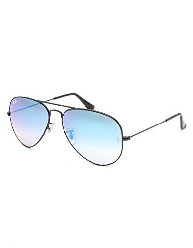 Ray-Ban RB3025 Aviator Flash Lens Gradient Unisex Sunglasses (Black Frame/Blue Gradient Flash Lens 002/4O, ()