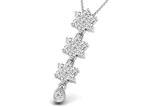 Or Blanc 14 ct Pendentifs Diamant en forme de Fleur, 0.33 Ct Diamant, GH-SI, 0.93 grammes.
