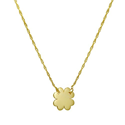 Amanda Rose 14k Yellow Gold Four Leaf Clover on a 16-18 in. Adjustable Chain 14k Yellow Gold Leaf