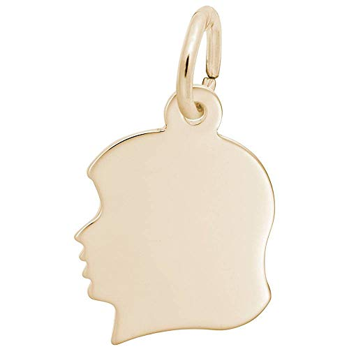Custom Engraving (up to 16 characters) Rembrandt Charms, Small Girl Silhouette, 22k Yellow Gold Plated Silver, Engravable