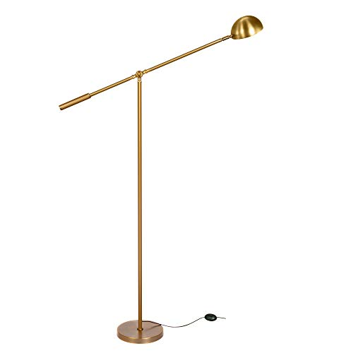Brightech Gabriel - LED Reading and Craft Floor Lamp, for Living Rooms, Bedrooms & Offices – Classy, Modern Standing Light for Tasks- Adjustable Arm, Omnidirectional Head - Antique Brass