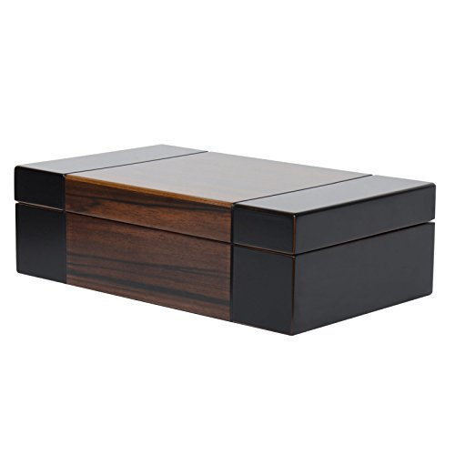 - Modern Dark Wood Valet Travel Case Jewelry Box Organizer Storage Hand Lined Sueded Fabric 10