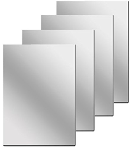 Flexible Mirrored Sheets with Self Adhesive Back, 4 Count, 6 x 9 Inch Each