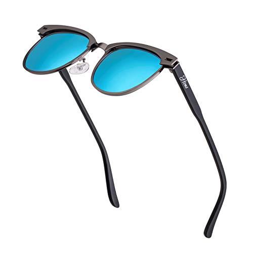 Vintage Semi Rimless Polarized Sunglasses for Men Women Stylish Brand Design Sun Glasses Metal Retro Half Frame Eyewear ()