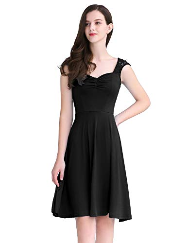 A-line Square Neck - YOYAKER Women's Floral Lace Bridesmaid Dress Vintage Square-Neck A-line Prom Party Swing Cocktail Dress Black S
