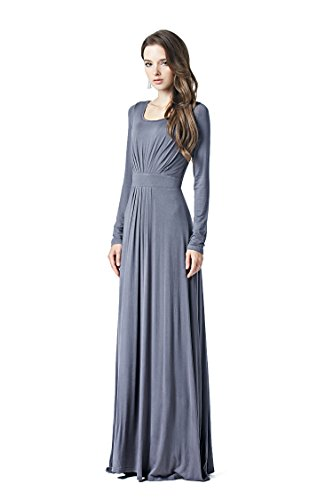 Charm Your Prince Women's Designer Round Neck Long Sleeve Maxi Dress Grey Medium