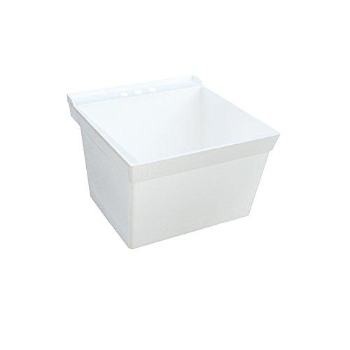 Swan MF0000WM.001 Veritek Single Bowl Wall Mount Laundry Tub, 23.375-in L X 21.625-in H X 13.25-in H, White