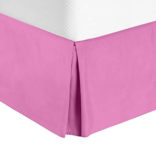 "Nestl Bedding Pleated Bed Skirt - Luxury Microfiber Dust Ruffle, 14"" Tailored Drop, Full, Light Pink"