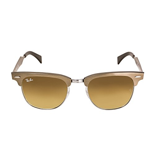 RAY BAN CLUBMASTER ALUMINUM RB 3507 139/85 51MM BRUSHED BRONZE / LIGHT BROWN (3507 Sunglasses Rb)