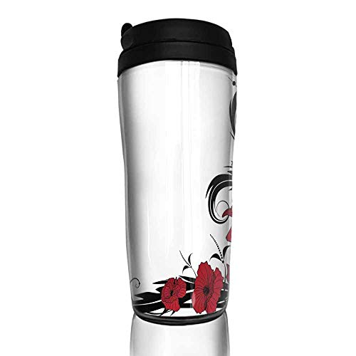 coffee cups warmer Art Nouveau,Poppy Bouquet Branches Romantic Pastoral Idyllic Meadow Blossom Vintage,Black Ruby White 12 oz,reusable cup for iced coffee