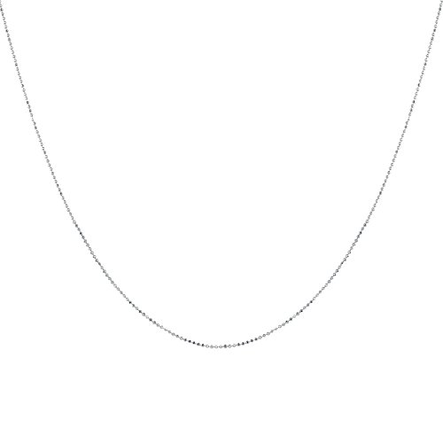 925 Solid Sterling Silver Diamond Cut 1.0MM BEAD BALL Chain Necklace MADE IN ITALY (AKA Dog Tag) - Thin,silky and SUPER Strong and Rhodium Plated 20'' Inch