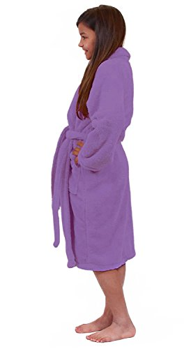 Turkuoise Girls Ultra Soft Plush Bathrobe Made in Turkey (Large (Ages 9-12), Lavander)