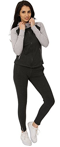 Juicy Trendz Womens Tracksuit Ladies Sweatshirt Running Jogging Suit Charcoal XL