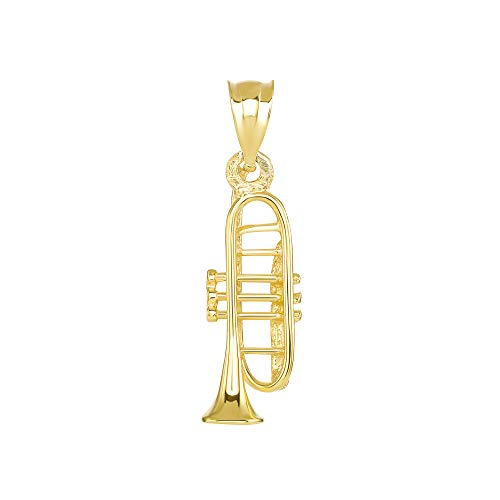 CaliRoseJewelry 14k Trumpet Horn Charm Pendant in Yellow Gold