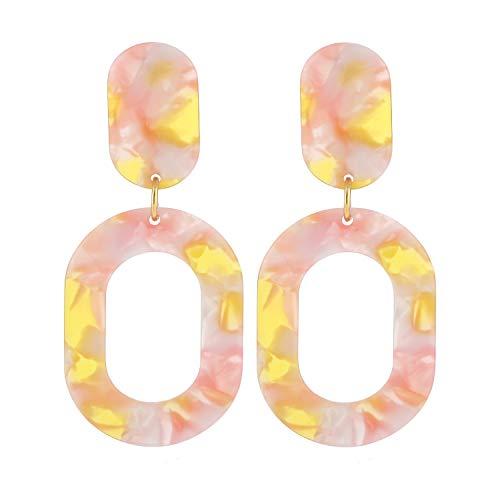 LEGITTA Resin Hoop Earrings Pink Acrylic Oval Dangle Ear Drops Fashion Statement Jewelry for Women L109P