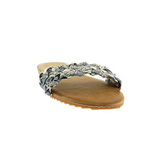 trenzado Zapatillas strass tanga 1 Gris Sandalias mujer CM Talón Angkorly Chanclas plano Moda tacón de 5 0qHcpU