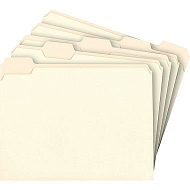 Staples Manila File Folders, Letter, 5 Tab, Assorted Position, 100/Box by Staples