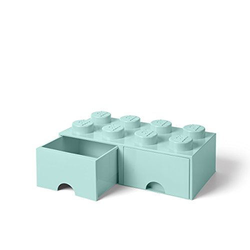 LEGO Brick Drawer, 8 Knobs, 2 Drawers, Stackable Storage Box, Aqua Mint Green