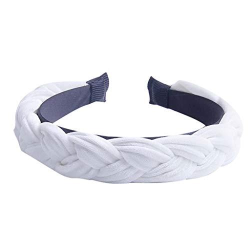 Braid Vintage Hairband for Women Cotton Fabric Knotted Headband Twist Turban Hoop Hair Band Headwear(07 white,-) ()