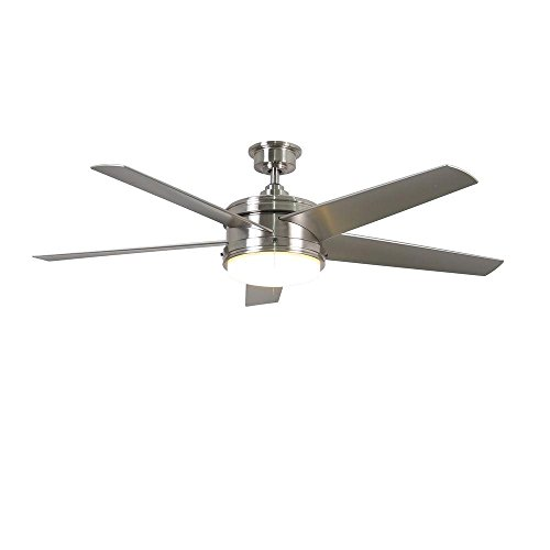 Home Decorators Collection Portwood 60 in. LED Indoor/Outdoor Brushed Nickel Ceiling Fan ()