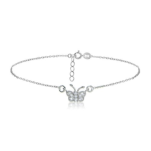 Hoops & Loops Sterling Silver Cubic Zirconia Butterfly Chain Anklet